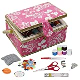 Sewing Basket, D&D Medium Sewing Box Organizer with Sewing Kit Accessories