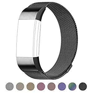 For Fitbit Charge 2 Bands, Milanese Loop Stainless Steel Bracelet Smart Watch Strap with Unique Magnet Lock for Fitbit Charge 3 Replacement Wristbands Large Small,Black,Rose Gold,Silver,Gold