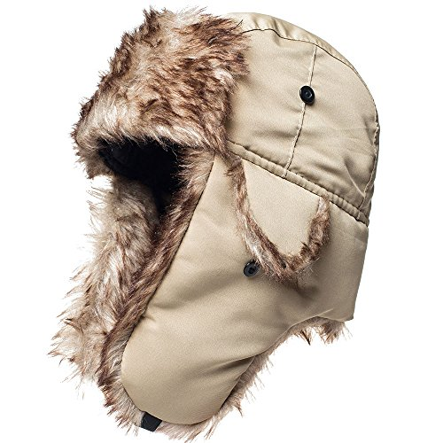 Winter Hat Warm Cap Ushanka Russian Trooper Trapper Hunting Aviator Cold Weather Ear Flap Chin Strap Khaki ()