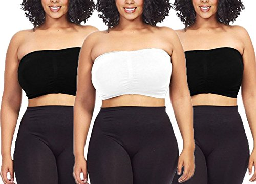 Dinamit Jeans 3-Pack Plus Size Seamless Strapless Bandeau Tube Top Bra-Black-White-Black-1XL-2XL - Denim Bandeau