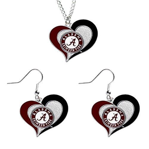 Aminco Alabama Crimson Tide NCAA Swirl Heart Pendant Necklace And Earring Set Charm Gift