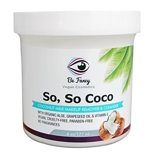 So, So Coco Milk Makeup Remover & Cleanser Cream, 6 oz. Moisturizing and Non-Irritant with Aloe & Vitamin E for Face, Lips, Eyes, Sensitive & Dry Skin. Paraben-Free, Vegan, Unscented