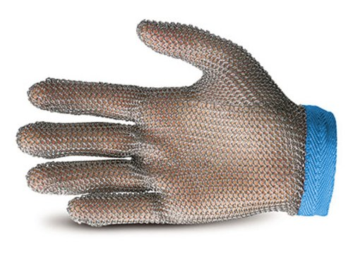 Superior GU-500 Stainless-Steel Mesh Universal Five-Finger Chain Mail Glove, Work, Cut Resistant, Large