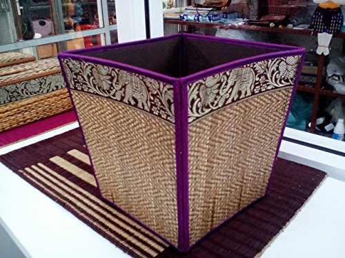Ayutthaya Shop Handmade Thai Woven Straw Reed Wicker Square Waste Basket with Silk Elephant Design (purple)