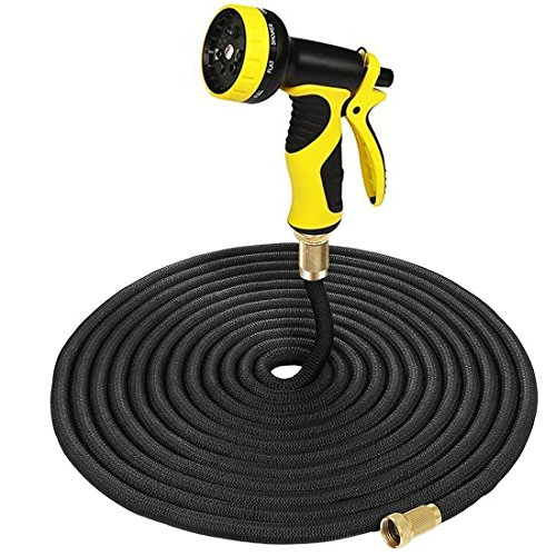 Garden Hose, 50FT Solid Brass Connector Expandable Latex Sealing Rings Strength Fabric Polyester Portable Watering Garden Hose for Cars Garden with Yellow Nozzle