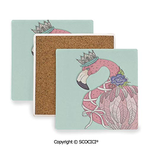 (Ceramic coaster With wood Bottom Protection, For Mugs, Wine Glasses, Protects Furniture Square,Flamingo,Cute Flamingo Flower Crown Ribbon Fairytale,3.9