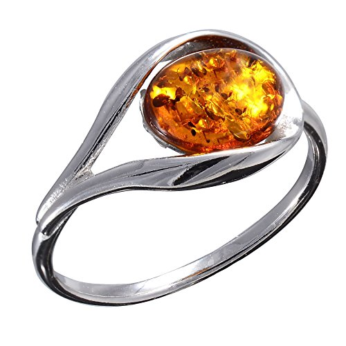 HolidayGiftShops Sterling Silver and Baltic Honey Amber Ring size: 6.5