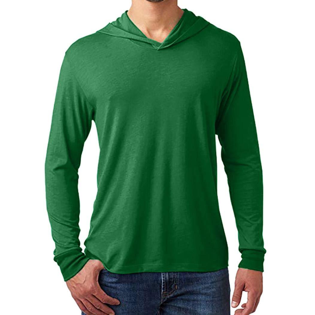 NRUTUP Hoodie Long Sleeve Sweatshirt Men's Casual Solid Autumn Winter Blouse Tops Hoodie Pullover New (Green, S)
