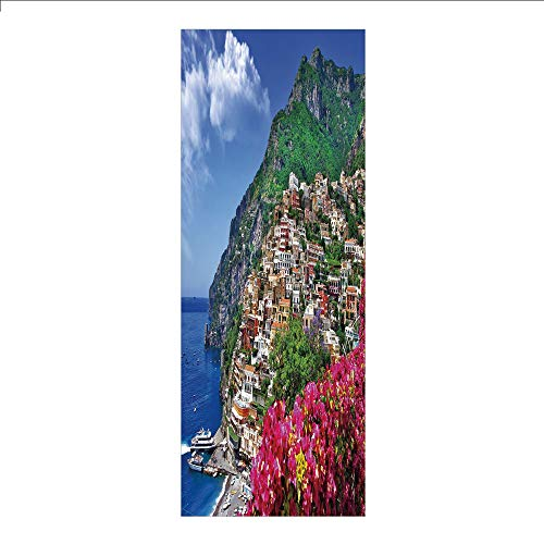 3D Decorative Film Privacy Window Film No Glue,Italy,Scenic View of Positano Amalfi Naples Blooming Flowers Coastal Village Image,Pink Green Blue,for Home&Office ()