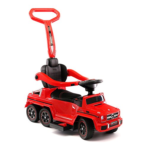 Moderno Kids Mercedes G63 AMG 6X6 Toddler Push Car Stroller Convertible to Foot to Floor Toy or Battery Powered Children Electric Ride On + Integrated MP3 Music Player + Working LED Lights (Red) (Best Electric Car For 3 Year Old)