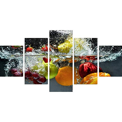 QUANOVO Fruit Canvas Print, 5 Panel High Definition Inkjet Home Restaurant Decorative Wall ()