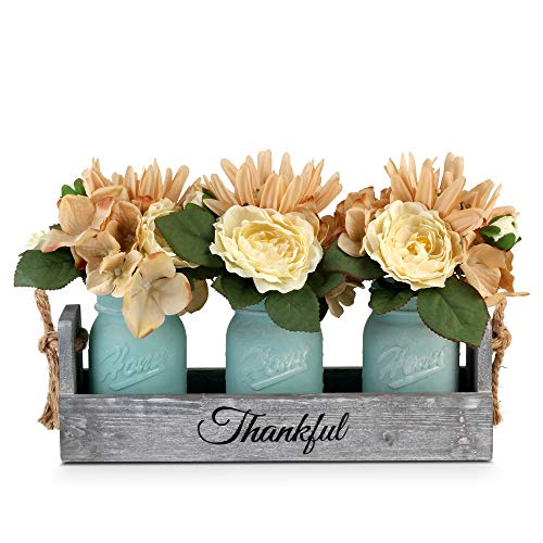 Besuerte Rustic Table Centerpiece Decor-Decorative Thankful Wood Tray with 3 Mason Jars, Rose Bouquet Flower for Home…