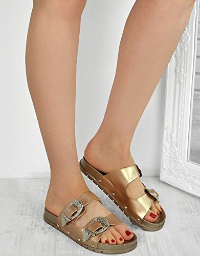 Definitely You Ladies Womens Studded Buckle Slip On Summer Sliders Mules Sandals Shoes Size Champagne Double Strap hRDy0