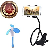 Elevea Mini USB Portable Air Fan Cooler for PC's and Flexible 360 degree Lazy Foldable Mobiles Holder Stand for All Smartphone , IOS Device (Assorted Colour)