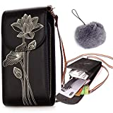 CoolYou Women Crossbody Bag with Phone Holder Card Slots PU Leather Mini Shoulder Bag 3 Layers Zipper Pocket Large Capacity Clutch Wallet Bags for Phones 6.5' - Lotus Black + Faux Furry Pendant