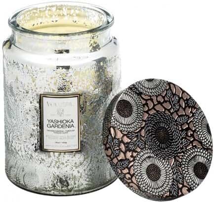 Voluspa Yashioka Gardenia Large Embossed Glass Jar Candle 16 oz