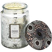 Voluspa Yashioka Gardenia Large Embossed Glass Jar Candle, 18 Ounces