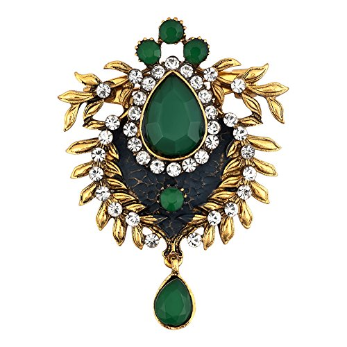 JewelryHouse Alloy Vintage Brooch Pin Birthstone Crystal Rhinestone Jewelry for Holiday Festival Favor (Green) ()