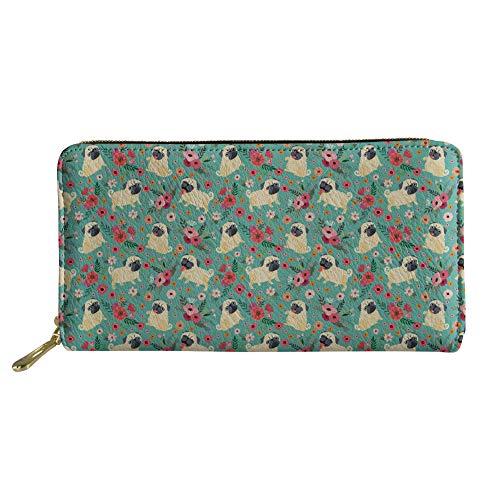 - HUGS IDEA PU Leather Long Wallets for Women Ladies Girls Flowers Lovely Pug Dog Pattern Card Holder Clutch