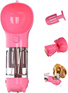 LionRoar Dog Water Bottle, 3 in 1 Portable Pet Travel Dispenser with Drinking Bowl, Dog Poop Bags, Poop Shovel, Leak Proof Puppy Water Bottle for Outdoor Walking Hiking, BPA Free, 300ML (Pink)