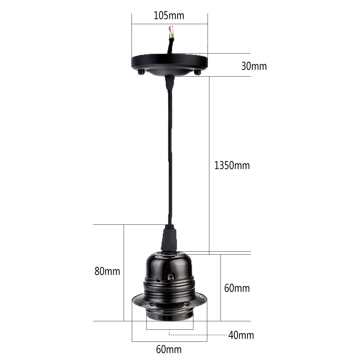 Greensun Vintage Edison E27 Lamp Holder Retro Industrial Style Voltage Ac Pendant Light Socket Without Wire Ceiling Hanging Bulb Adaptor