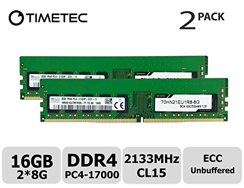 - Timetec Hynix 16GB Kit (2x8GB) DDR3 2133MHz PC3-17000 Unbuffered ECC 1.5V CL15 1Rx8 Single Rank 240 Pin UDIMM Server Memory RAM Module Upgrade (16GB Kit (2x8GB))