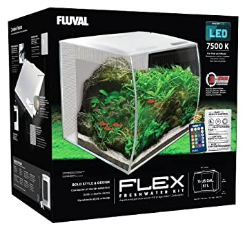 fluval flex curved glass led nano aquarium fish tank 57l white