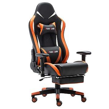 Storm Racer ergonómico Gaming Chair Silla de Respaldo Alto Silla de Oficina con reposapiés Ajuste reposacabezas y Apoyo Lumbar Silla de Racing (Orange,New): ...