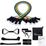 Resistance Bands Set Sportneer Exercise Band, Stackable Up To 105lbs for Home Gym Workout, with Door Anchor, Ankle Strap and Chest Expander