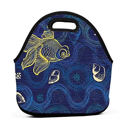 for Womens Mens Boys Girls Modern Decor,Ocean Sealife Creature Fish Shell Wavy Flowers Mystic Nature Image,Navy Blue Cream Yellow,bag pack and lunch bag for school boys