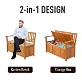 "Outsunny 47.25"" Wooden Outdoor Storage Bench with"