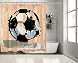 PositiveHome Soccer Ball Football Grunge Painting Style Sport Theme Home Decoration Artwork White Black Pink Extra Long Shower Curtain 70'' wide X 85'' long