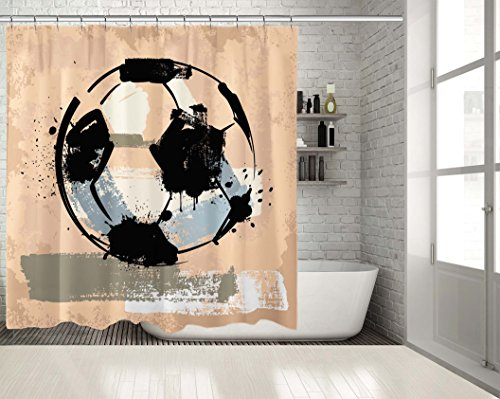 PositiveHome Soccer Ball Football Grunge Painting Style Sport Theme Home Decoration Artwork White Black Pink Extra Long Shower Curtain 70'' wide X 85'' long by PositiveHome