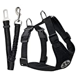SlowTon Dog Car Harness Plus Connector Strap, Multifunction Adjustable Double Breathable Mesh Fabric Travel Regular Vest Harness with Safety Seat Belt in Car Vehicle for Dogs Road Trip Daily Walks (Large, Black)