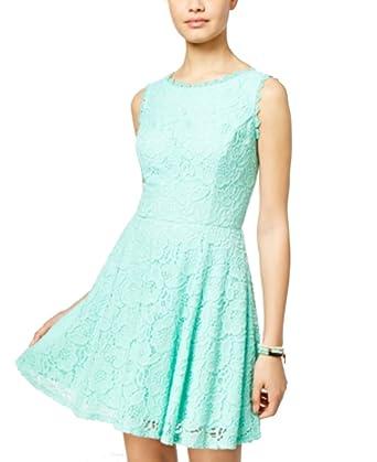 b48a3f0cc City Studios Juniors' Lace Fit & Flare Dress (Light Pastel Green, ...