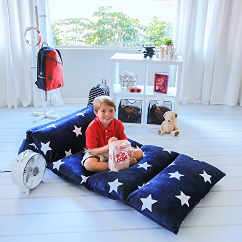 Kids Floor Pillow Fold Out Lounger Fabric Cover for Bed and Game Rooms, Reading, Video Games or Watching TV. Beanbag, Ottoman, Recliner, Chair, Couch Alternative. Blue. Queen Pillows Not Included