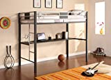 DHP Screen Loft Metal Bunk Bed with Desk and Ladder, Space-Saving Design, Silver