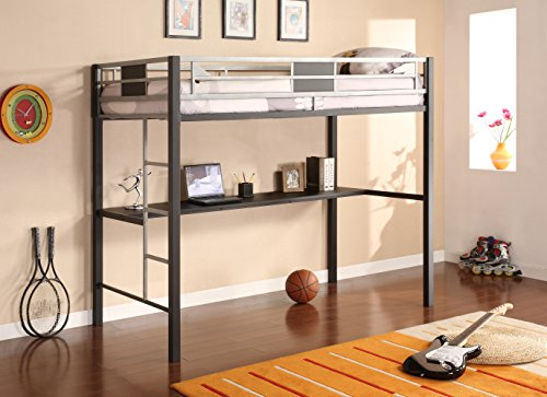 (DHP Screen Loft Metal Bunk Bed with Desk and Ladder, Space-Saving Design, Silver)