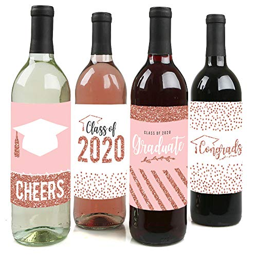 Big Dot of Happiness Rose Gold Grad - 2020 Graduation Party Decorations for Women and Men - Wine Bottle Label Stickers - Set of 4 (Best Wine Labels 2019)