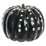 12''Hx14''W Artificial Jeweled Weighted Pumpkin -Black/Clear (pack of 2)