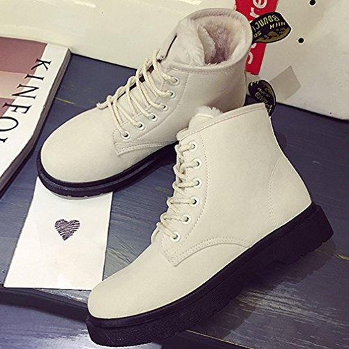 Femme Adulte Lacet Classique Neige Martin Doublure Chaude Bottine Boots Botte Vogue Beige Hiver La WvYzx