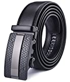 Xhtang Men's Ratchet Belt Automatic Buckle Genuine Leather 35mm Wide M