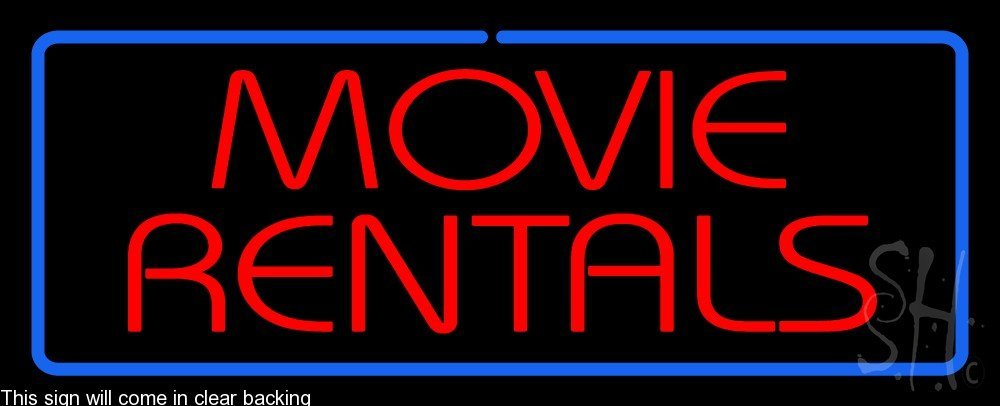 Movie Rentals Clear Backing Neon Sign 13'' Tall x 32'' Wide