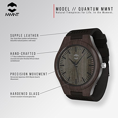 Quantum MMNT Men's Dark Wooden Watch w/Genuine Brown Leather Strap and Japanese Analog Miyota Quartz Movement by MMNT Watches (Image #6)