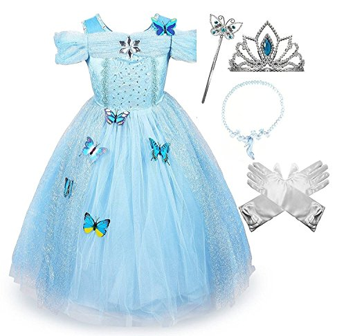 Cinderella Costumes Kid (Cinderella Crystal Princess Party Costume Dress with Accessories (6-7))