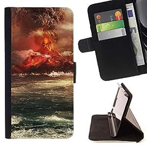 For Motorola Moto E ( 2nd Generation ) Case , Isla del Volcán Erupción- la tarjeta de Crédito Slots PU Funda de cuero Monedero caso cubierta de piel