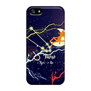 Iphone 5/5s Hard Back With Bumper Silicone Gel Tpu Case Cover Cat Kittycat Zodiac Sign Taurus
