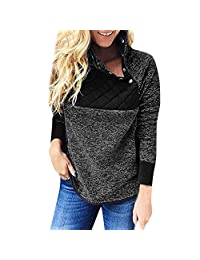 FarJing Womens Tops Long Sleeve Flannel Patchwork Sweatshirt Pullover Tops Blouse