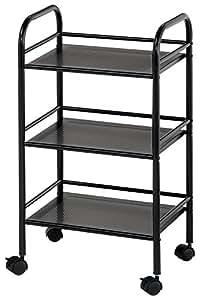 Blue Hills Studio SH3BK Storage Cart 3-Shelf Black