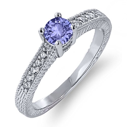 0.56 Ct Round Cut Natural Blue Tanzanite 925 Sterling Silver Engagement Ring (Available in size 5, 6, 7, 8, 9)